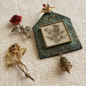 Flower Love Vintage Brooches and Ring